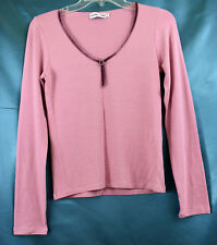 GERARD DAREL LS Stretch V-Neck Rhinestones Knit Top Pink  Sz 2 See measurements