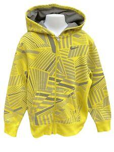 New NIKE Vintage Unisex Hoodie Jacket Yellow and Grey 140-152 cm Age 10-12 Years