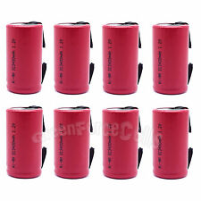 8 pcs SubC Sub C 3400mAh 1.2V NiMH Rechargeable Battery w/ Tab For RC Toy Red