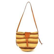 Women's Vintage Jute Handwoven Basket Bucket Mini Bag Gen.Leather Strap Handmade