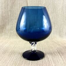 More details for large brandy glass vase vintage mid century modern cobalt blue retro