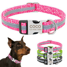 Personalized Dog Collar Engraved ID Tag Reflective Small Large Nylon for Pitbull