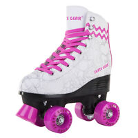 Cal 7 Roller Skates Indoor Outdoor Skating Graphic Faux Leather Boot PVC Wh/Pink