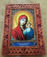 ORTHODOX ICON HAND MADE CARVING WOOD Mother-of-God of Kazan