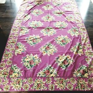 "Gorgeous April Cornell Floral Vintage Shabby Rectangle Cotton Tablecloth 94x60"""