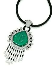 Carved Emerald CZ 925 Sterling Silver Pearl & Onyx Fine Jewelry (only Pendant)
