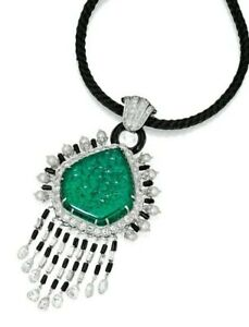 Carved Lab Emerald 925 Sterling Silver Pearl & Onyx Fine Jewelry (only Pendant)