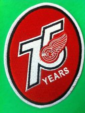 "Detroit Red Wings 75 Years Logo Patch Iron On Sew On 3.5 x 4.5"" Inch"