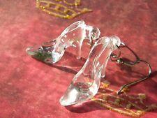Glass Look Slipper SHOE Kitschy COOL Retro Pierced Earrings SEXY Cinderella