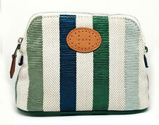 Authentic HERMES Pouch Bolide Pouch Striped Mini Canvas Green