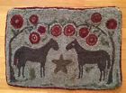 "Vintage Primative Folk Art Double Horse Star Hooked Penny Rug 24.5""x 17"""