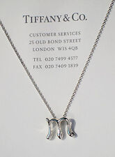 Tiffany & Co Elsa Peretti Alphabet Letter Initial M Sterling Silver Necklace