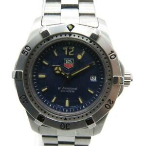 Auth Tag Heuer Professional Watch Stainless Steel Blue 5335