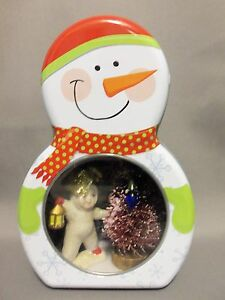 Dollhouse Miniature Snow Baby Scenario/Roombox in a Snowman Tin (Red)