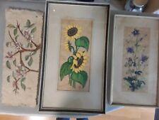 Blumenbilder Papyros 50iger Jahre?? mit Signatur  handmade