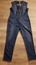 Womens blue distressed jumpsuit size XL made in China back zipper front tie up