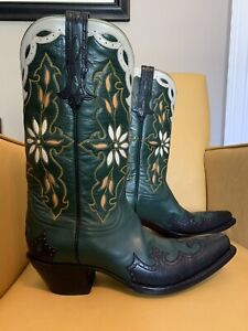 Stallion Mens Handmade Dark Green with Floral Inlay Cowboy Boots. US8D. New!