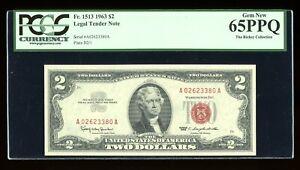 DBR 1963 $2 Legal Gem Fr. 1513 PCGS 65 PPQ Serial A02623380A
