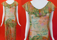 Vintage 30s Yellow Silk Chiffon Plumeria Flower Print Ruffle Collar Peplum Dress
