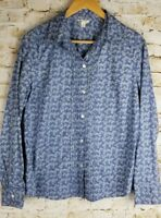 Izod Womens SZ M Blue White Floral Long Sleeve Tunic Top Blouse Shirt Casual