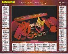 CALENDRIER ALMANACH des postes PTT 2004 chat voyageur & chien mélomane