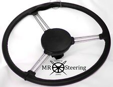 FITS LAND ROVER SERIES 3 1971-1985 BLACK PERFORATED LEATHER STEERING WHEEL COVER