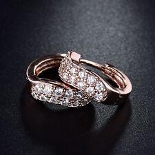 HUCHE Elegant Huggies 18K Rose Gold Filled Pave Diamond Crystal Women Earrings
