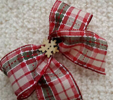 LUXURY CLIP ON WIRED CHRISTMAS TREE BOW NATURAL TARTAN RED GREEN + SNOWFAKE