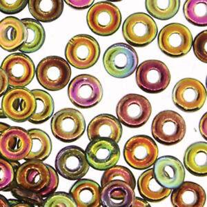 O-beads 3.8x1mm Czech Glass Beads 1.3mm Hole Mini Flat Donut Ring 8 grams U-Pick