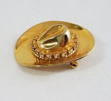 Rhinestone Cowboy Hat Pin Gold Tone Brooch  Rodeo Country Western