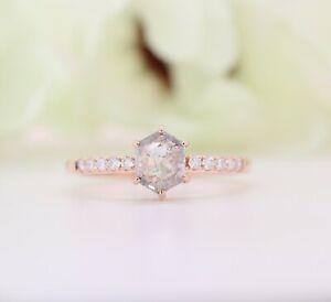 Salt and Pepper Hexagon Shape Diamond 6 Prongs 14K Rose Gold Engagement Ring