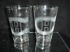 MONTREAL CANADIENS RETRO LOGO ETCHED 16 oz PINT GLASSES NEW