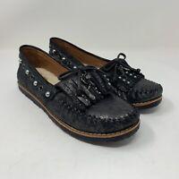 Coach Women's Metallic Black Leather Roccasin Studded Moccasins Size 10B G1206
