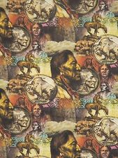 FIVE CENT PEACE ~ BUFFALO NICKELS NATIVE AMERICAN Quilt Fabric ~ Sold by ½ YARD