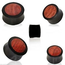 "PAIR-Wood Arang w/Blood Wood Inlay Saddle Flare Ear Plugs 14mm/9/16"" Gauge Body"
