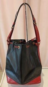 Authentic Louis Vuitton Large Noe Black/red epi leather Bucket Bag