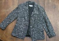 Vintage schwarz-weiß schick elegance Paris Sakko Jacket Blazer Gr 38 Schurwolle
