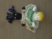 "Vintage Handmade Topsy Turvy Cloth / Sock Black White Doll 12"" Americana (K0 08)"