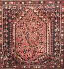 Vintage Geometric Abadeh Hand-knotted Area Rug Wool Oriental Carpet 3'x3' Square