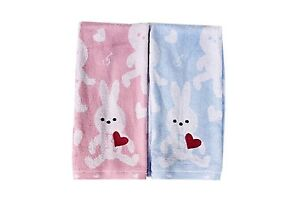 Bamboo Home USA Bamboo Rayon Ultra Soft Easter Rabbit Embroidery Red Heart Towel