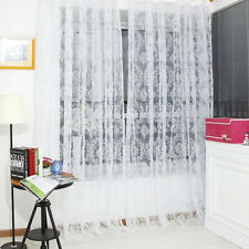 Retro Vintage Flocked Floral Voile Door Window Curtain Panel Sheer Tulle Drape