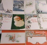 10 Holiday Merry Christmas Greetings Cards Vintage Santa Snowflakes Mistletoe