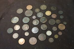 Worlds Coins Collection Lot ,35 old coins 1700s 1800s 1900s