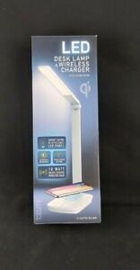 LED Desk Lamp and Wireless Charger Base-Portable Dimming, w/ Flexible Head-White