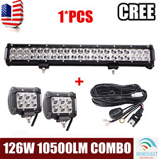 126w 20inch Led Light Bar+4inch 18w spot Cube Pods+ Wiring Kit Bumper Ford GMC