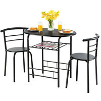3 Pcs Dining Set Table And 2 Chairs Compact Bistro Pub Breakfast Home Kitchen