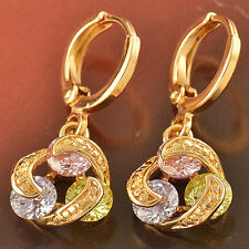 Chic Attractive 9K Gold Filled 3-Colour CZ Dangle Earrings,New,F2305