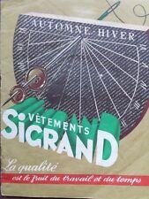"CATALOGUE MODE "" VETEMENTS SIGRAND "" 1940"