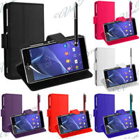 ETUI COQUE HOUSSES RABAT PORTEFEUILLE CUIR SUPPORT VIDEO SONY XPERIA M2 D2303