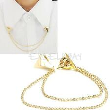 Cool Punk Necklace Stud Triangle Blouse Shirts Collar Neck Tip Chain Brooch Pin